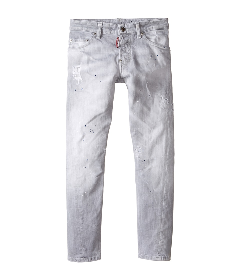 Dsquared2 Kids - Light Grey Wash Twist Kenny Jeans (Big Kids) (Denim Black) Boy's Jeans