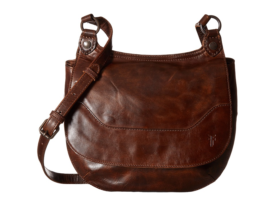 Frye - Melissa Saddle (Dark Brown Antique Pull Up) Handbags