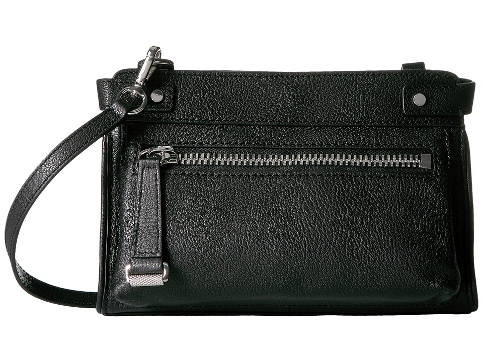 Frye - Natalie Moto Crossbody (Black Soft Pebbled Leather) Cross Body Handbags