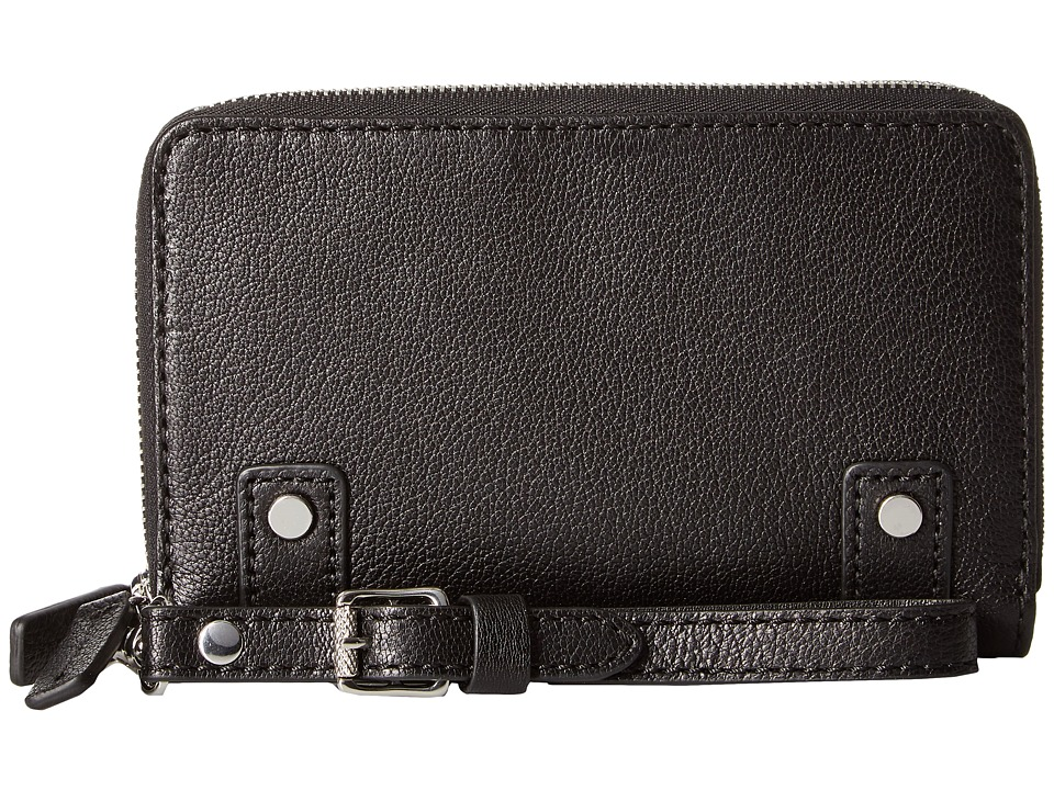 Frye - Natalie Moto Phone Wallet (Black Soft Pebbled Leather) Wallet