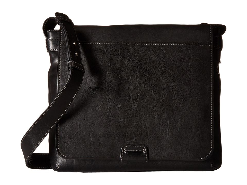 Frye Chris Messenger (Black Tumbled Full Grain) Messenger Bags