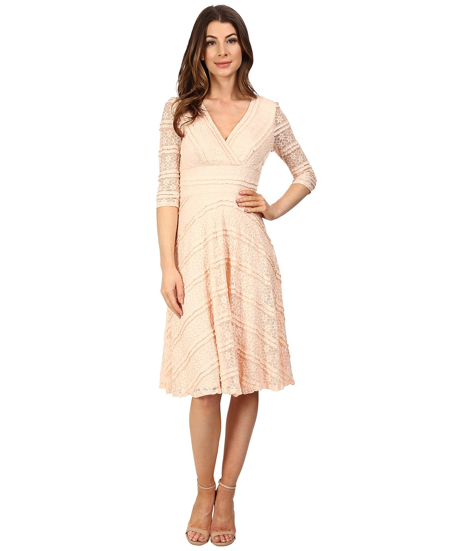 Sangria - 3/4 Sleeve Sequined Lace Fit Flare Dress (Honeysuckle) Women's Dress