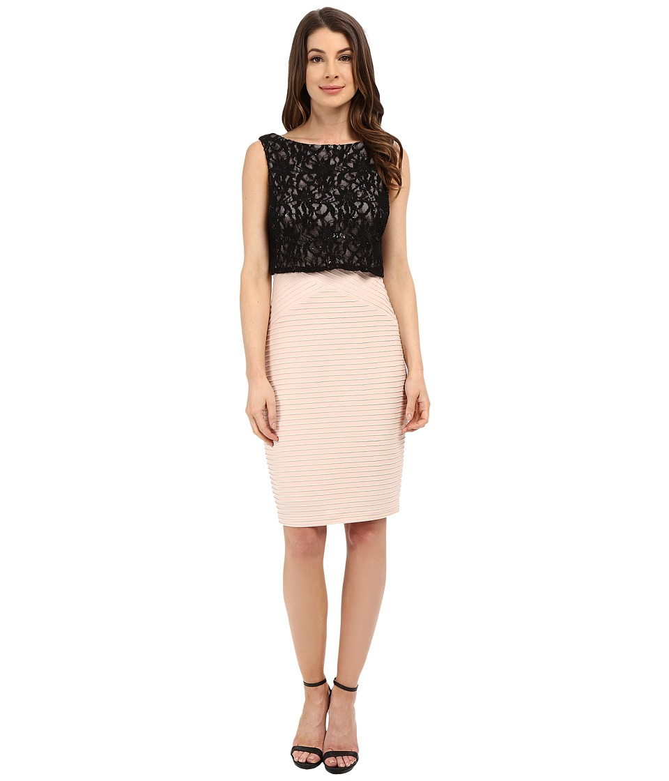 Sangria - Lace Bodice Pop Over Sheath (Black/Shell) Women's Dress