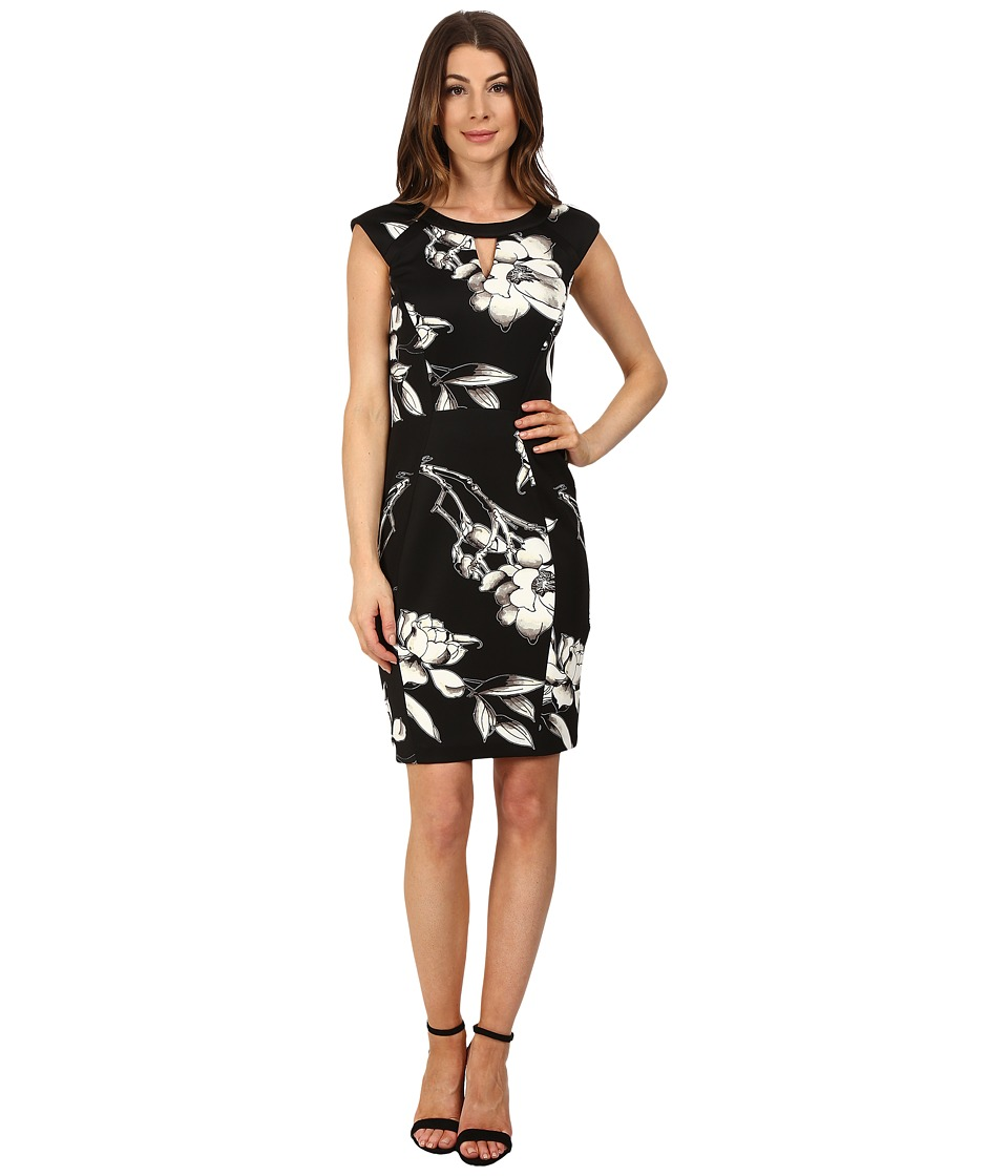 Sangria - Floral Print Scuba Sheath (Black) Women's Dress