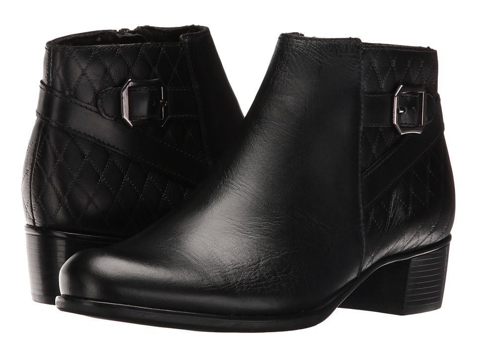 Munro - Jolynn (Black Leather/Quilted Detail) Women's Pull-on Boots