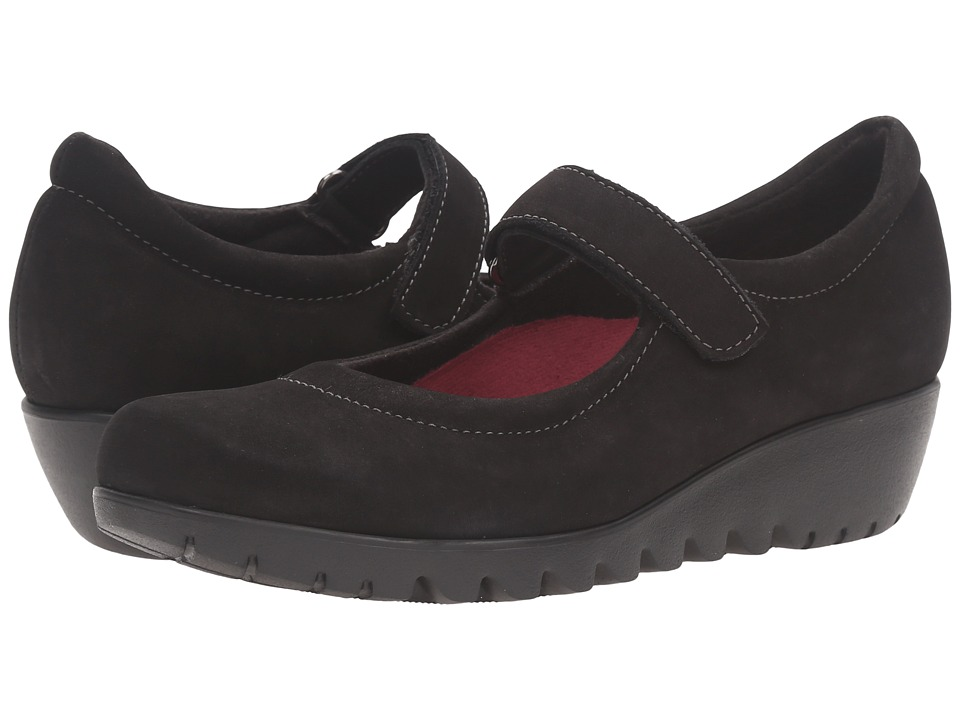 Munro - Pia (Black Nubuck) Women's Hook and Loop Shoes