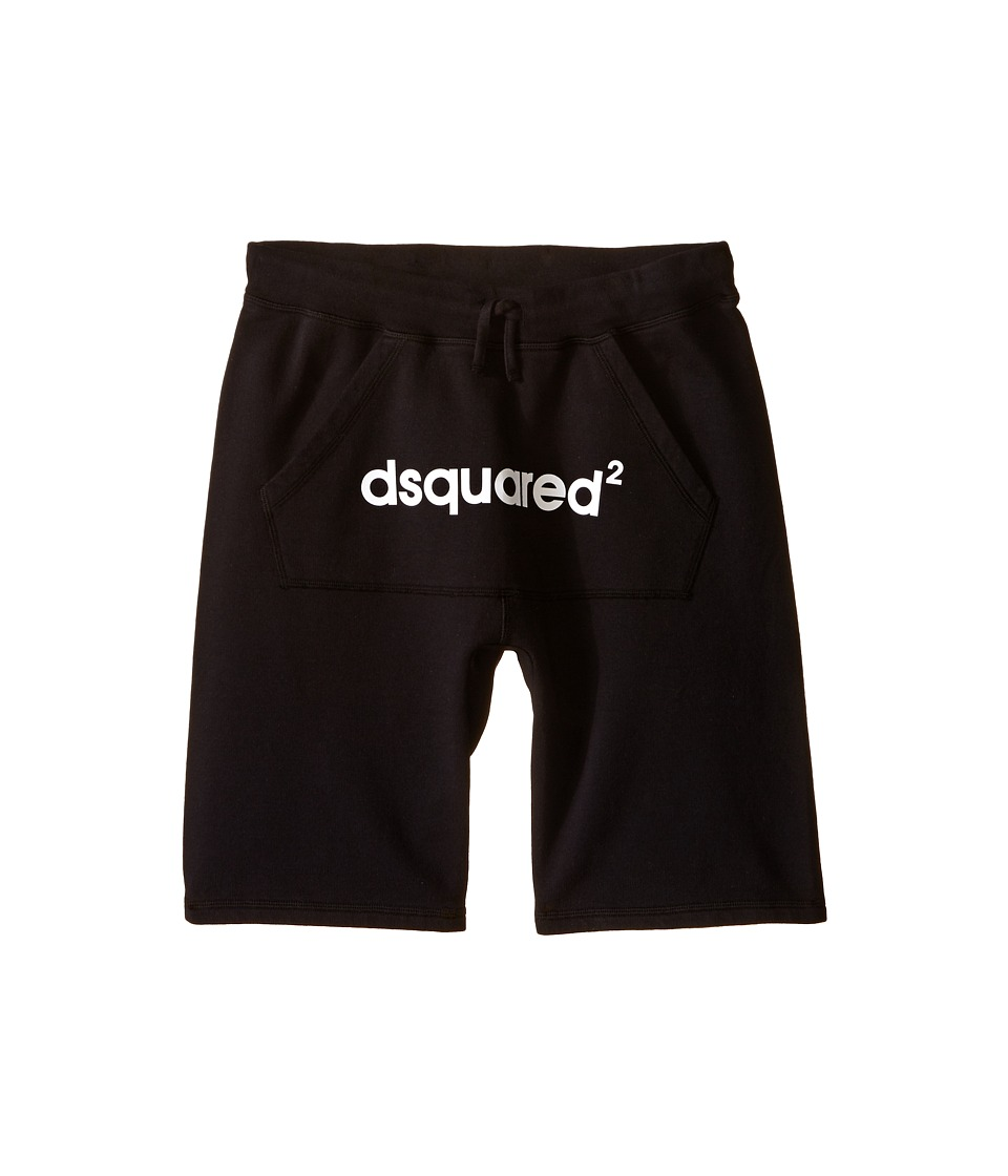 Dsquared2 Kids - Sweat Shorts w/ Front Pocket Logo (Big Kids) (Black) Boy's Shorts