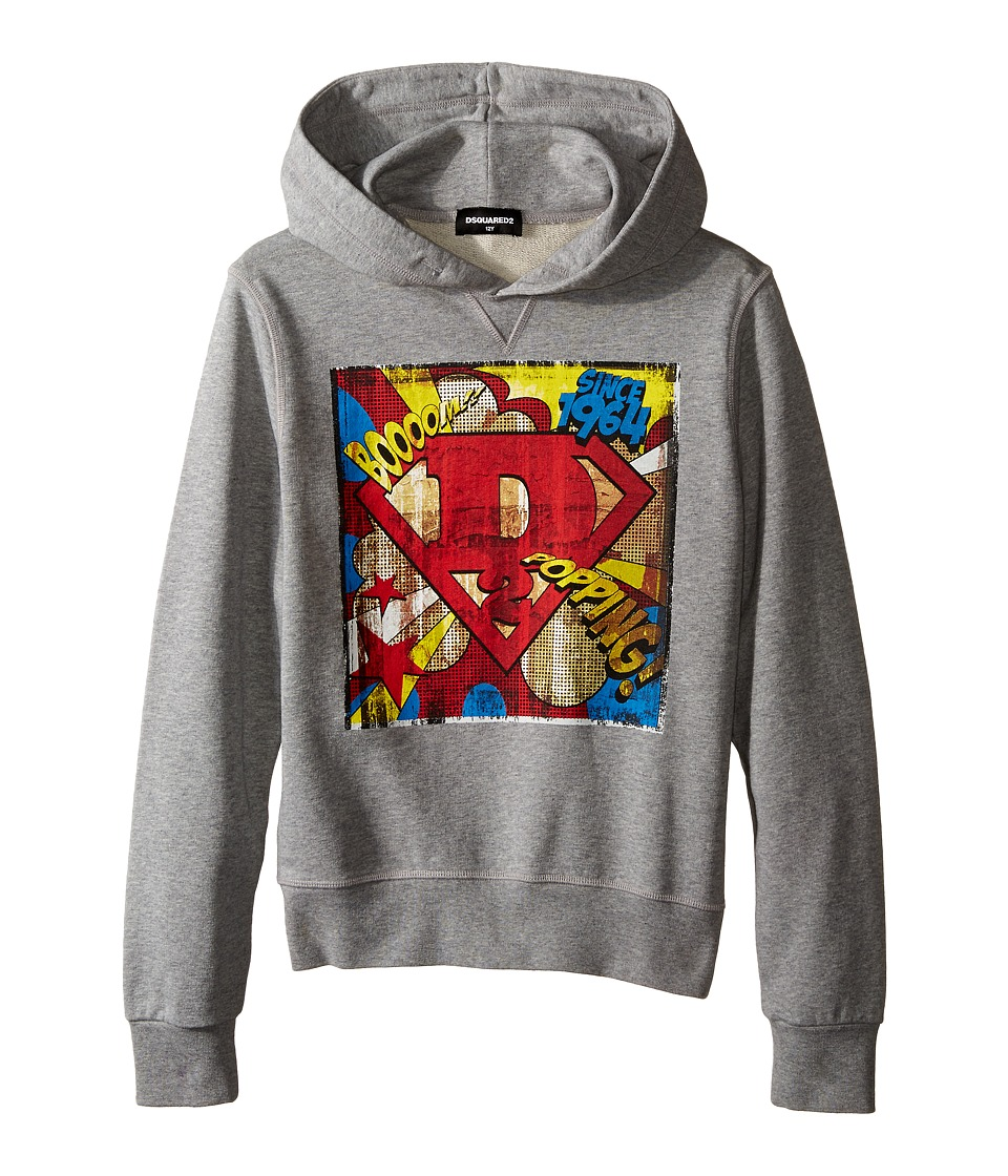 Dsquared2 Kids - Hoodie Sweater w/ Superhero Design (Big Kids) (Grey) Boy's Sweatshirt
