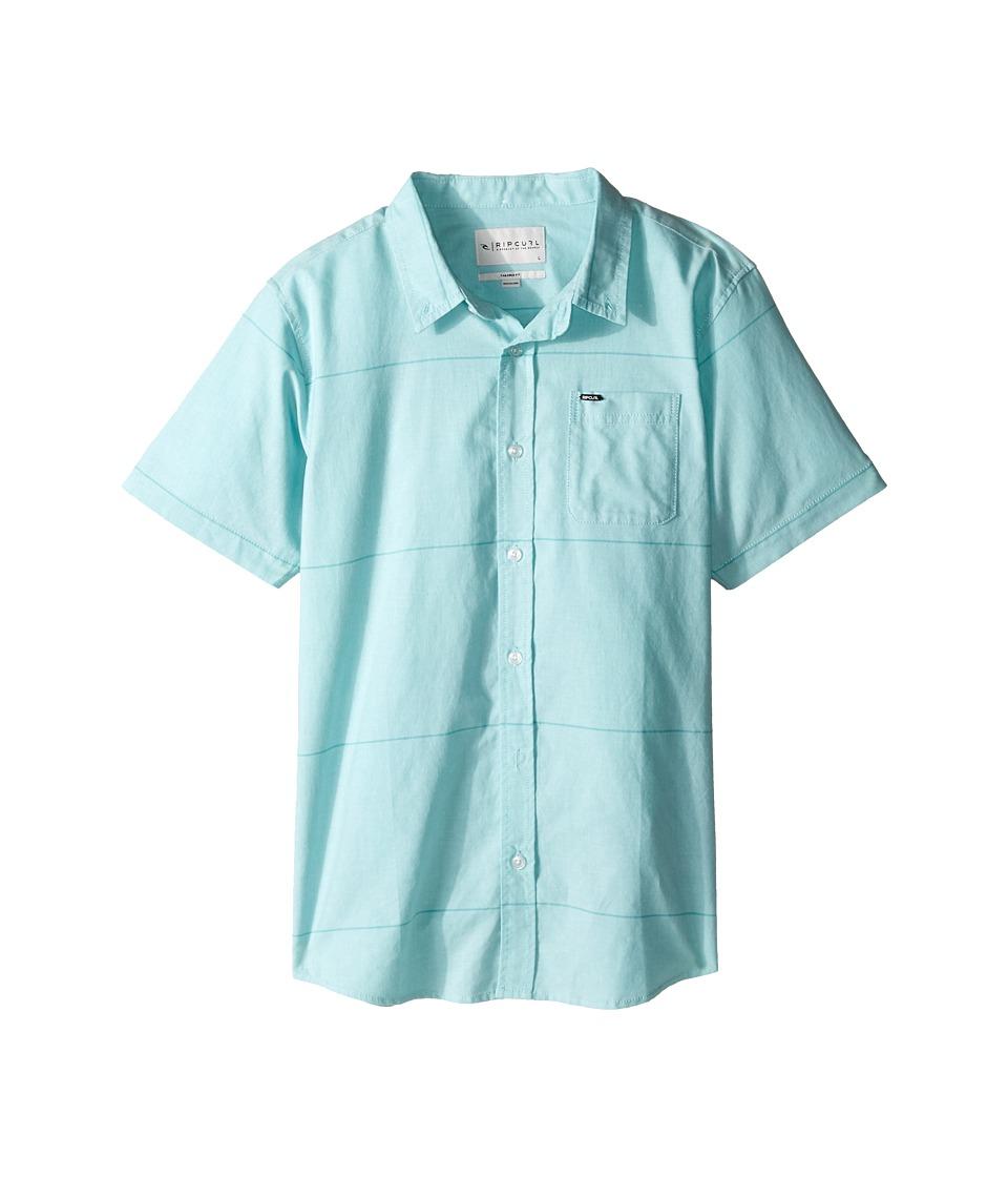 Rip Curl Kids - Ourtime Short Sleeve Shirt (Big Kids) (Aqua) Boy's Clothing