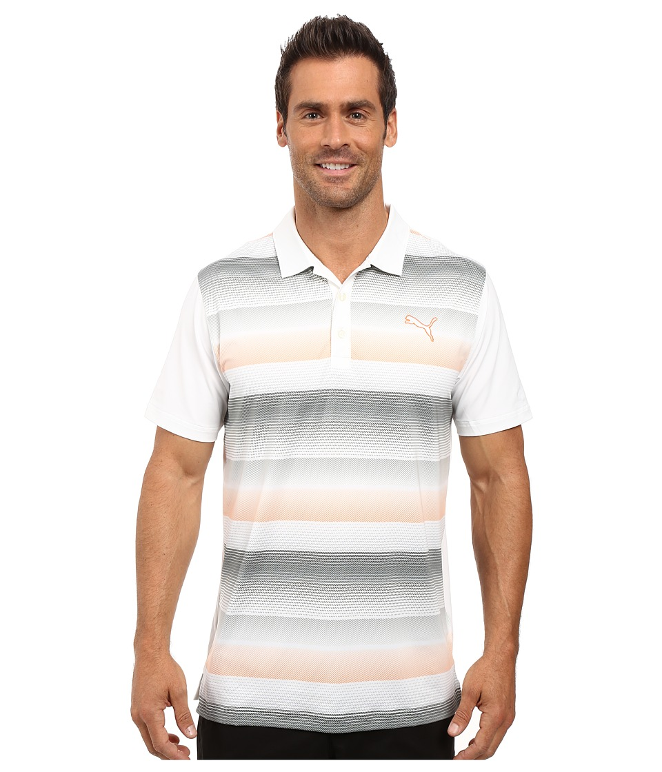 PUMA Golf - GT Roadmap Polo (Bright White/Vibrant Orange) Men's Clothing