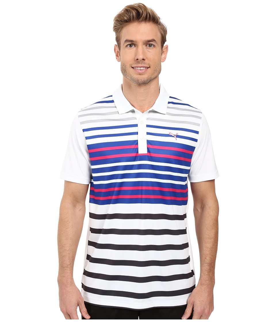 PUMA Golf - Road Map Polo (Bright White/Beetroot) Men's Short Sleeve Knit