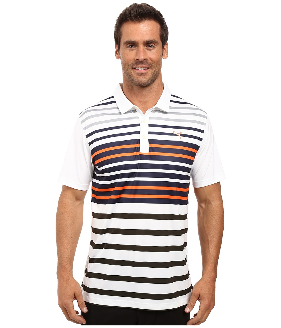 PUMA Golf - Road Map Polo (Bright White/Vibrant Orange) Men's Short Sleeve Knit