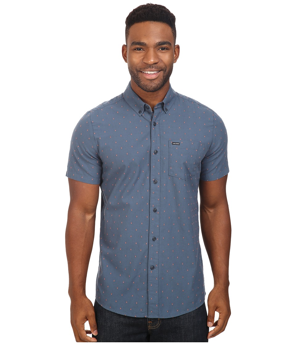 Volcom - Zeller Short Sleeve Woven (Air Force Blue) Men's Clothing