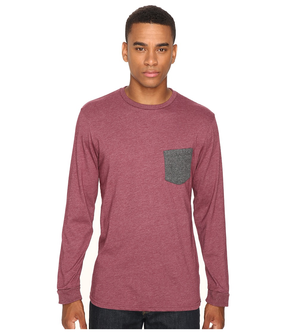 Volcom - New Twist Long Sleeve Pocket Tee (Merlot Heather) Men's T Shirt