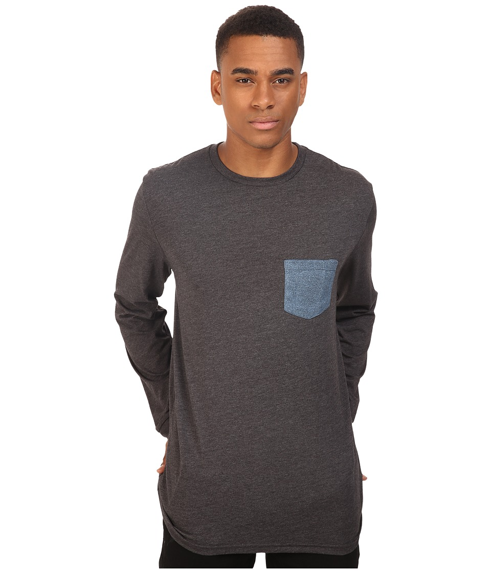 Volcom - New Twist Long Sleeve Pocket Tee (Black Heather) Men's T Shirt