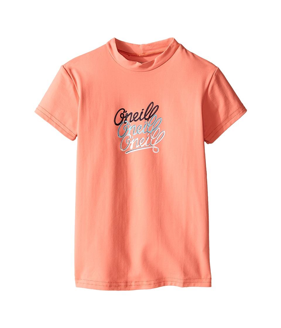 O'Neill Kids - Skins Short Sleeve Rash Tee (Little Kids/Big Kids) (Light Grapefruit) Girl's Swimwear