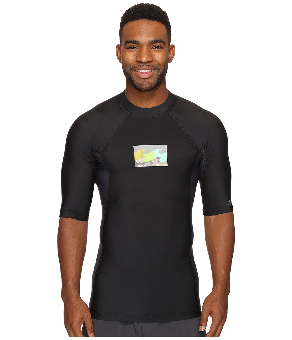 Billabong - Iconic Short Sleeve Rashguard (Black) Men's Swimwear