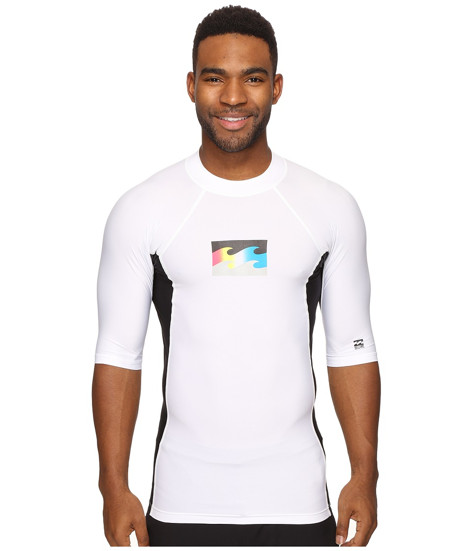 Billabong - Iconic Short Sleeve Rashguard (White) Men's Swimwear