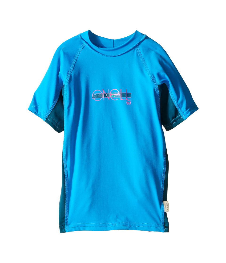 O'Neill Kids - Skins Short Sleeve Crew (Little Kids/Big Kids) (Sky/Deep Teal/Sky) Girl's Swimwear