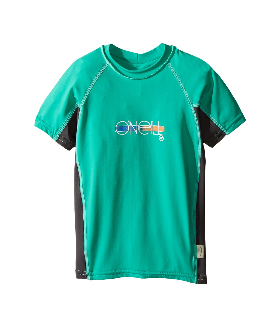 O'Neill Kids - Skins Short Sleeve Crew (Little Kids/Big Kids) (Seaglass/Graphite/Seaglass) Girl's Swimwear