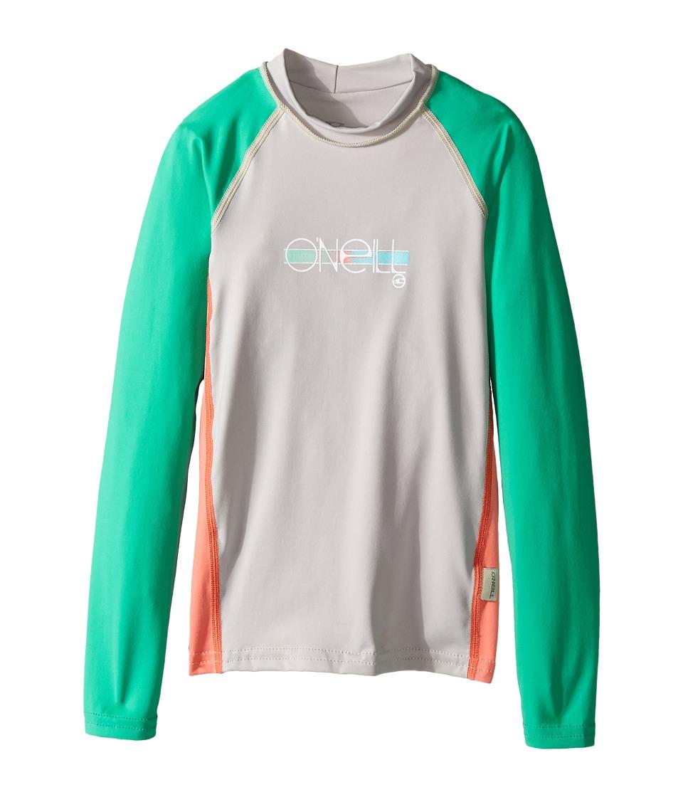 O'Neill Kids - Skins Long Sleeve Crew (Little Kids/Big Kids) (Lunar/Light Grapefruit/Seaglass) Girl's Swimwear