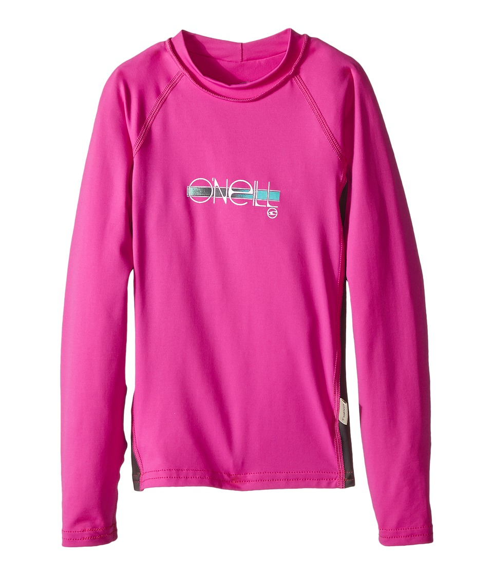 O'Neill Kids - Skins Long Sleeve Crew (Little Kids/Big Kids) (Berry/Graphite/Berry) Girl's Swimwear