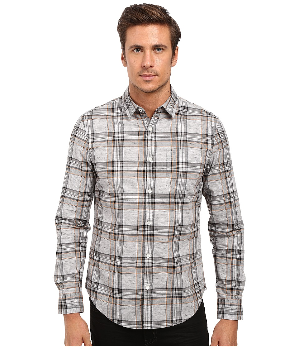 Original Penguin - Long Sleeve Heathered Plaid (Griffin) Men's Long Sleeve Button Up