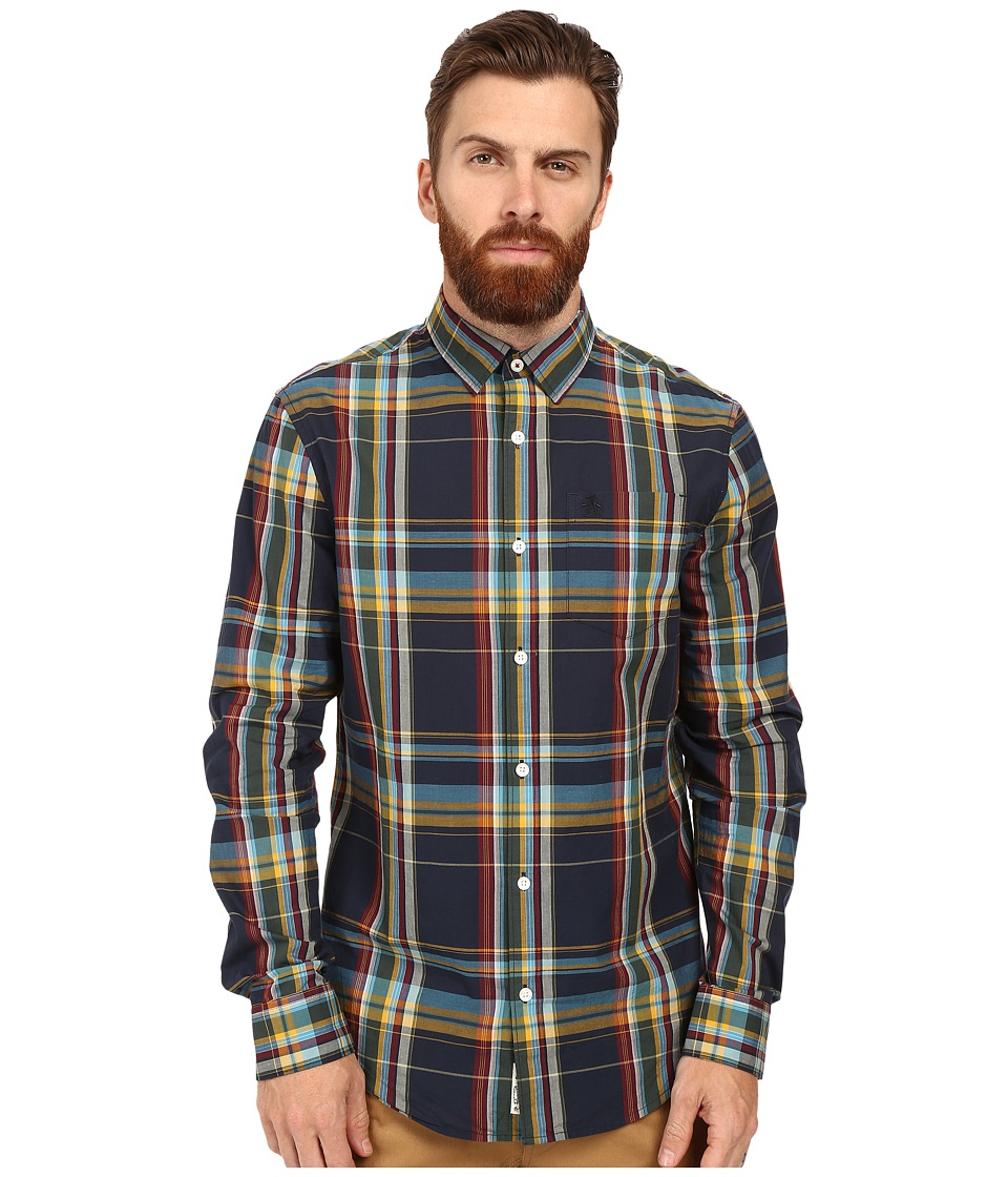 Original Penguin - Long Sleeve P55 Plaid (Dark Sapphire) Men's Long Sleeve Button Up
