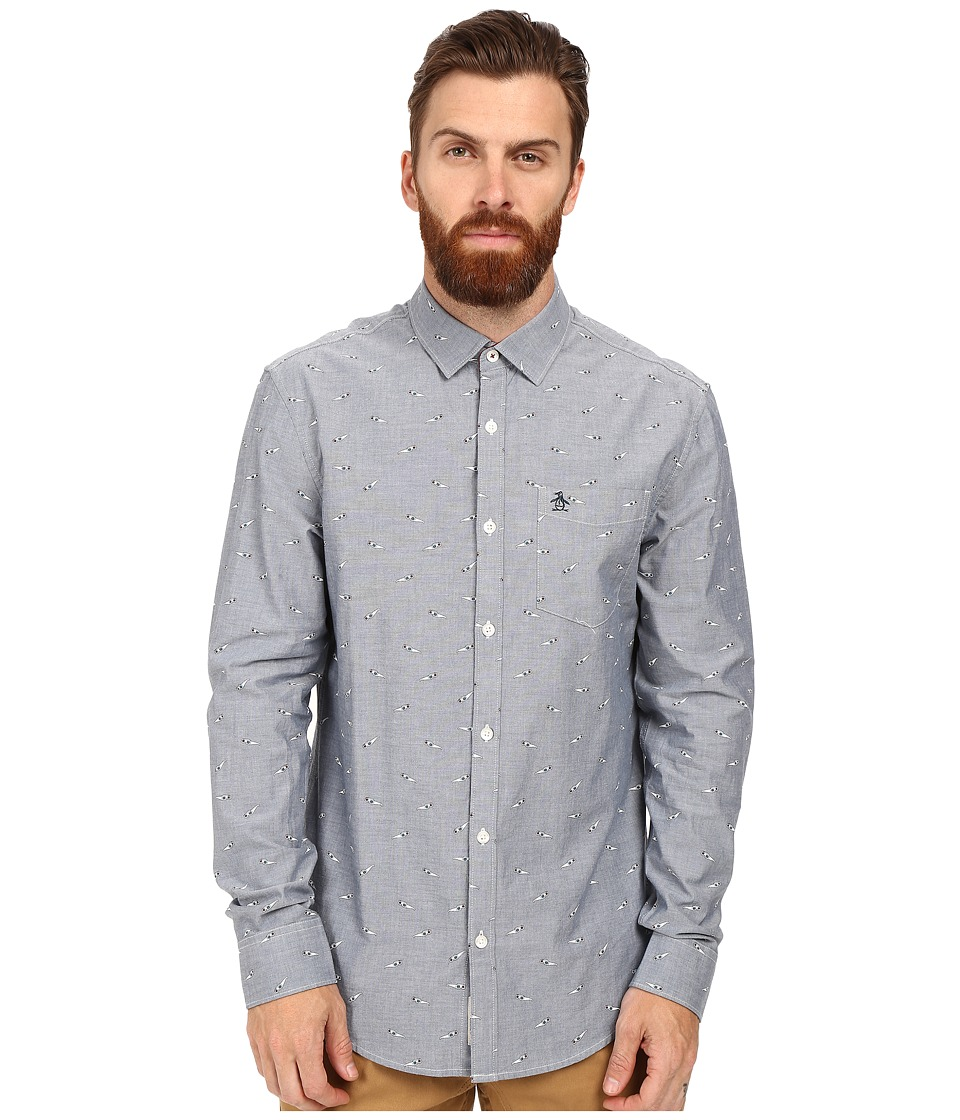 Original Penguin - Long Sleeve Oxford with 3D Glasses Print (Blue Wing Teal) Men's Long Sleeve Button Up