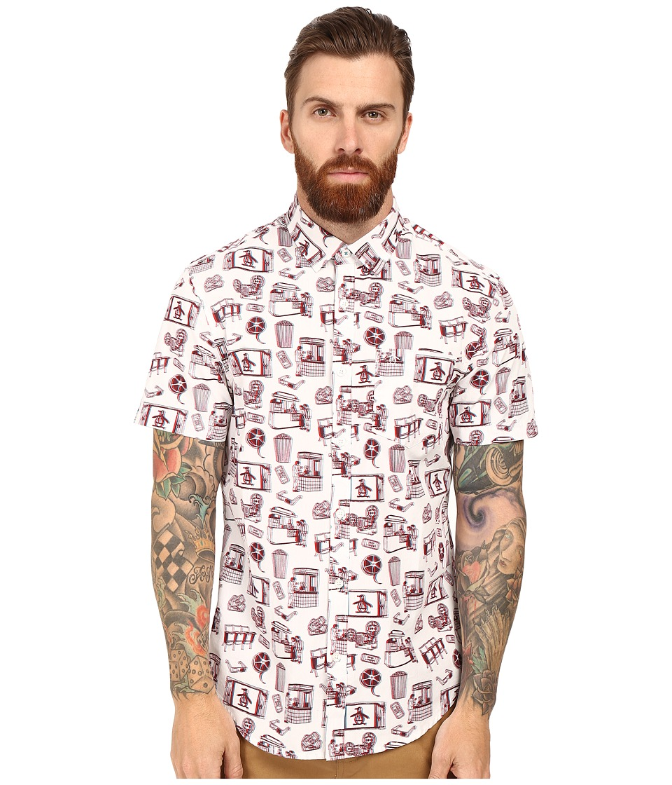 Original Penguin - Short Sleeve 3D Print Woven (Bright White) Men's Short Sleeve Button Up