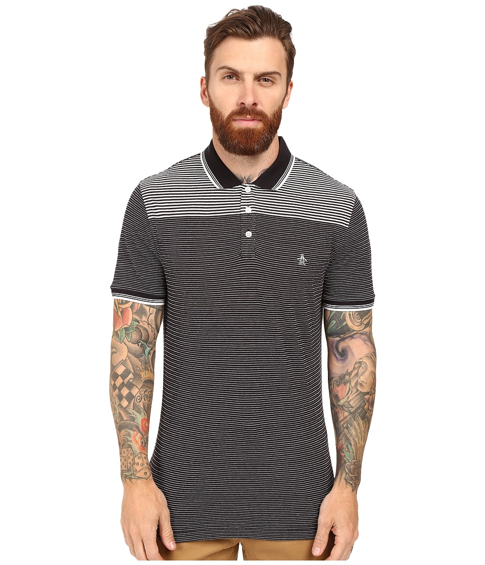 Original Penguin - Engineered Jacquard Stripe Polo (True Black) Men's Short Sleeve Button Up