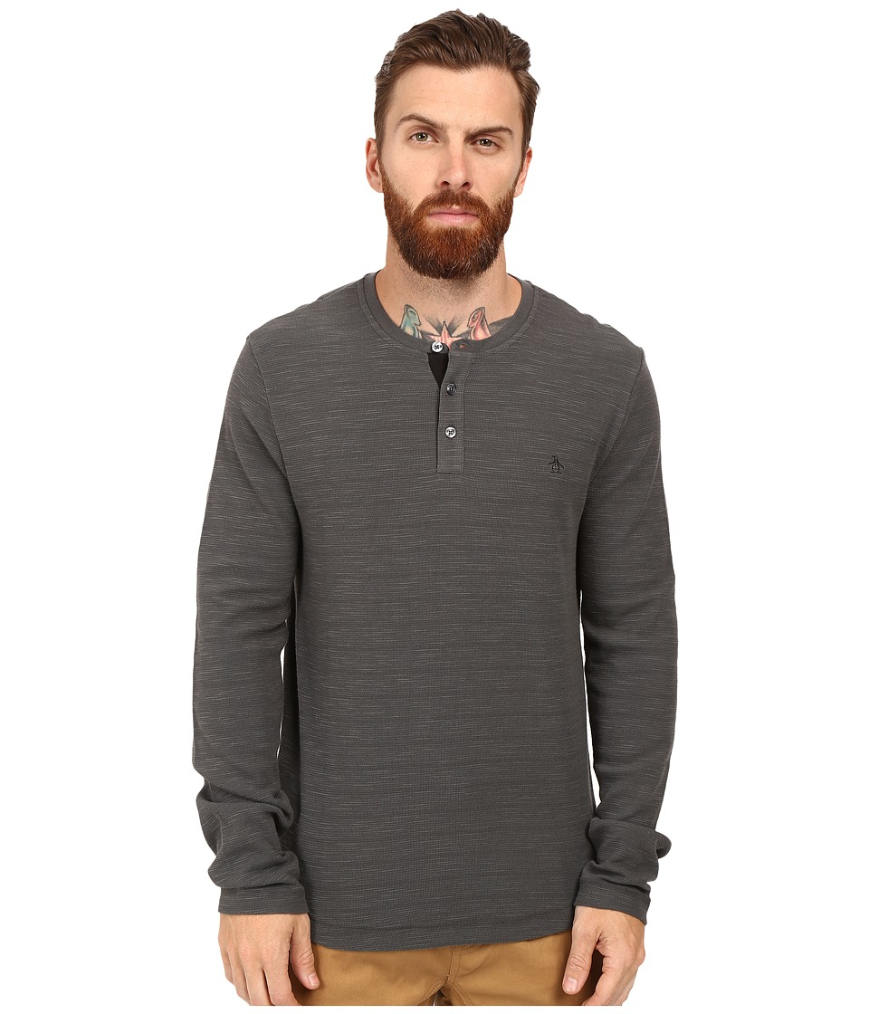 Original Penguin - Long Sleeve Slub Waffle Henley (Dark Shadow) Men's Long Sleeve Pullover