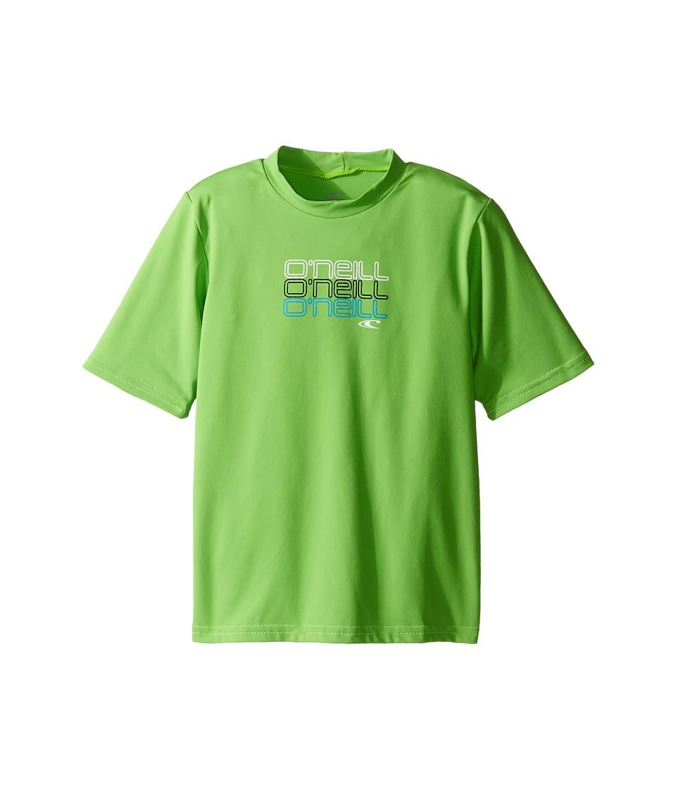 O'Neill Kids - Skins S/S Rash Tee (Infant/Toddler/Little Kids) (Day Glow Green) Boy's Swimwear