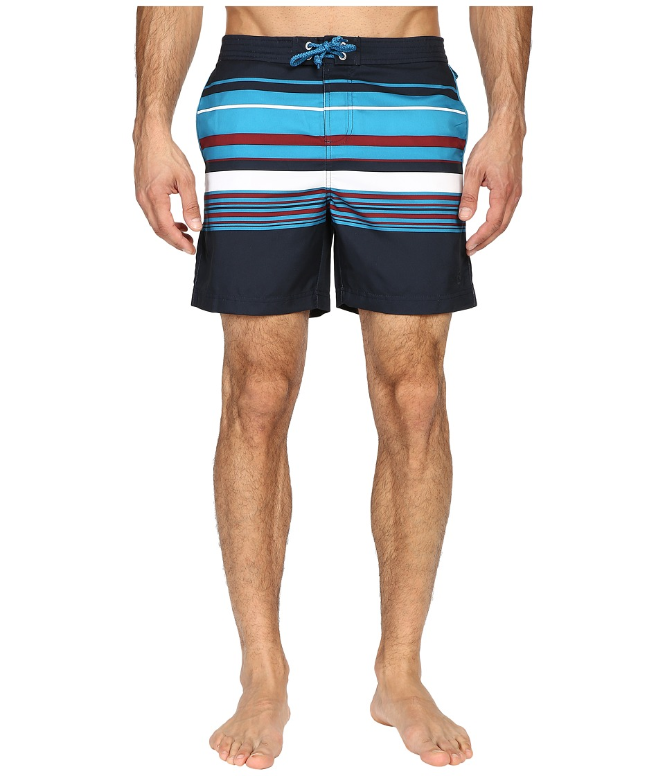 Original Penguin - Stripe Fixed Volley (Dark Sapphire) Men's Swimwear