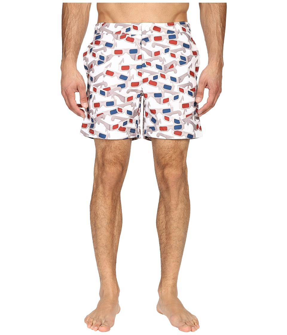Original Penguin - 3D Glasses Photo Print Volley (Bright White) Men's Swimwear