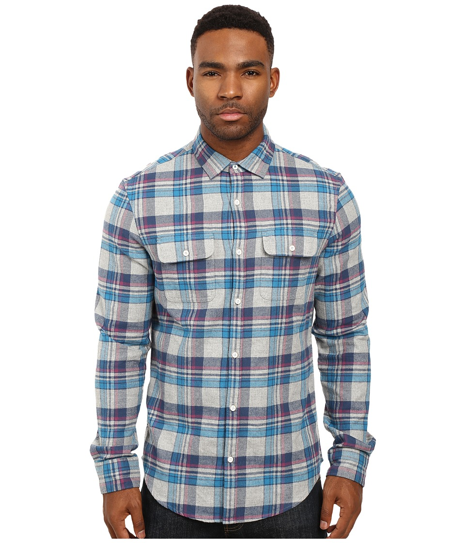 Original Penguin - Long Sleeve Brushed Cotton Plaid (Rain Heather) Men's Long Sleeve Button Up