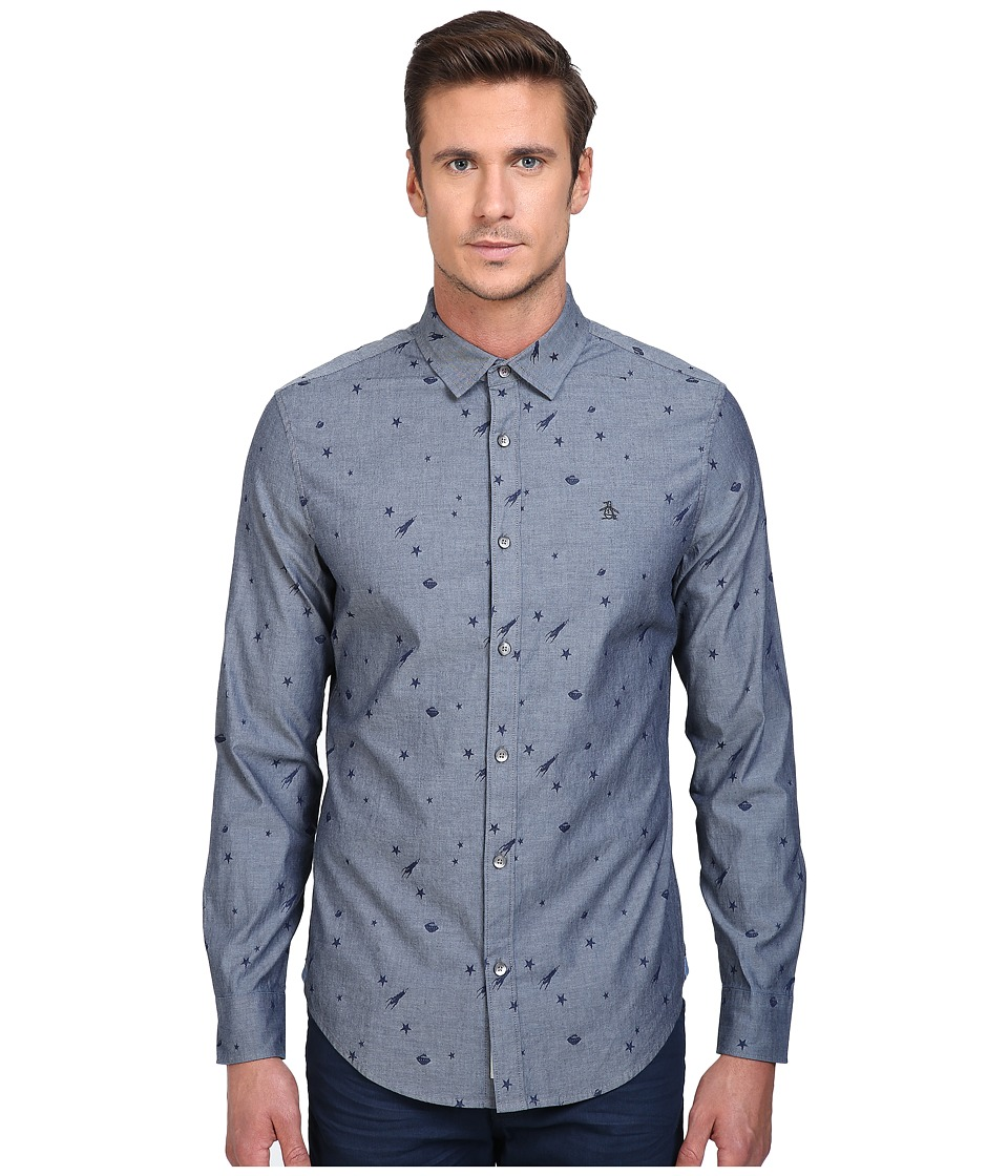 Original Penguin - Long Sleeve Space Jacquard Chambray Print (Dark Sapphire) Men's Long Sleeve Button Up