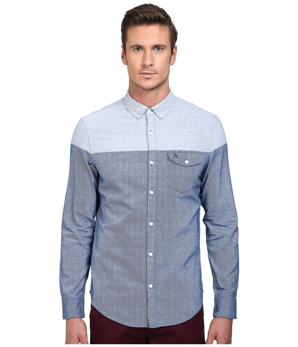 Original Penguin - Long Sleeve Brushed Cotton (Medieval Blue) Men's Long Sleeve Button Up