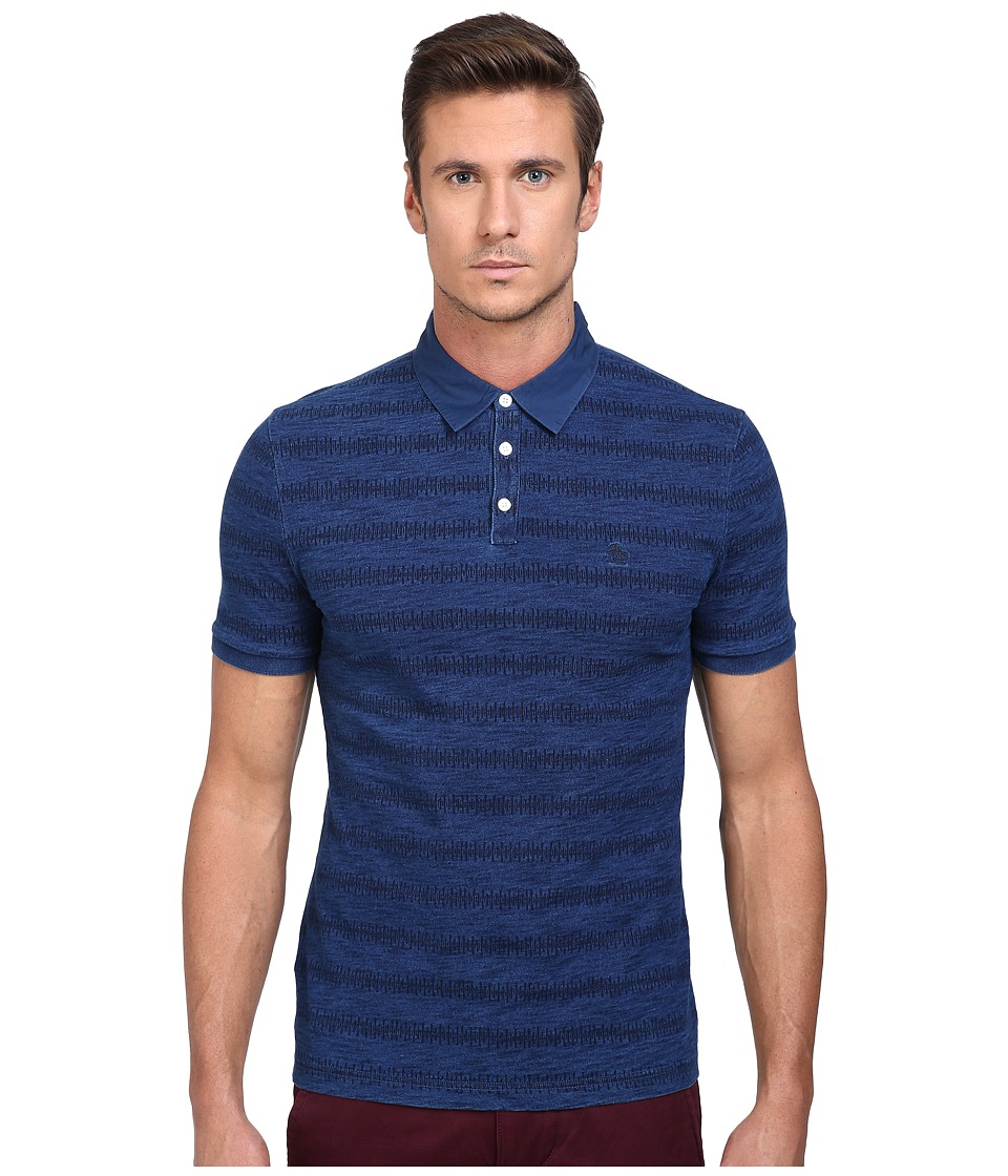 Original Penguin - Indigo Printed Polo (Blue Wing Teal) Men's Short Sleeve Pullover