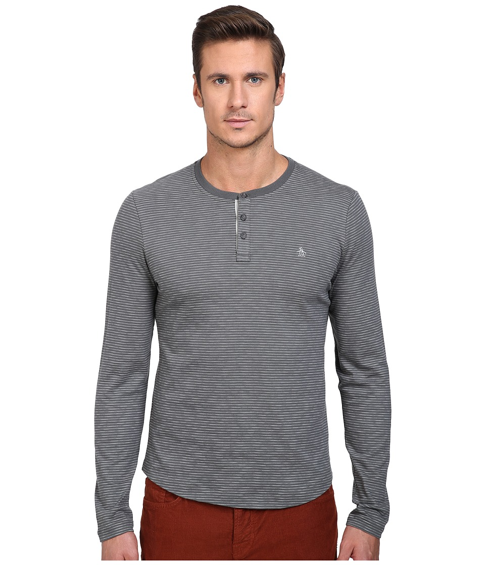 Original Penguin - Feeder Stripe Henley (Dark Shadow) Men's Long Sleeve Pullover