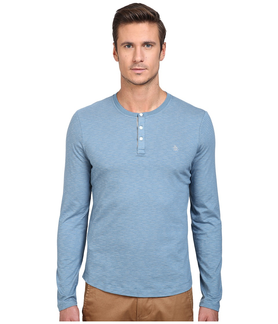 Original Penguin - Feeder Stripe Henley (Agean Blue) Men's Long Sleeve Pullover
