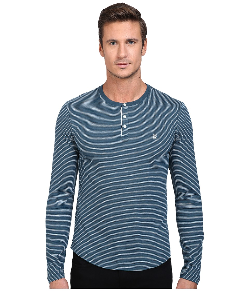 Original Penguin - Feeder Stripe Henley (Reflecting Pond) Men's Long Sleeve Pullover