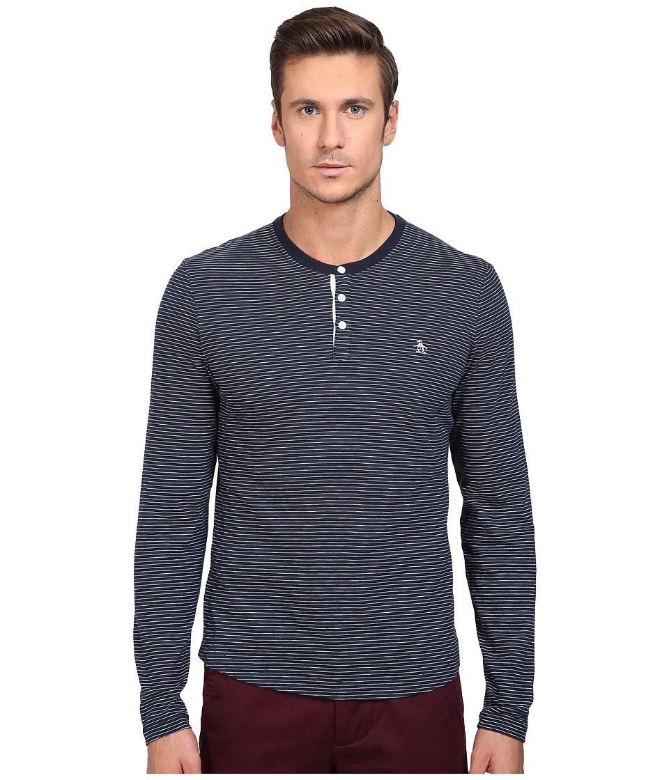 Original Penguin - Feeder Stripe Henley (Dark Sapphire) Men's Long Sleeve Pullover