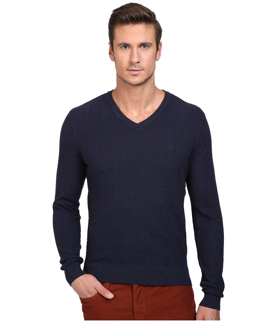 Original Penguin - Donegal Herringbone V-Neck (Dark Sapphire) Men's Sweater