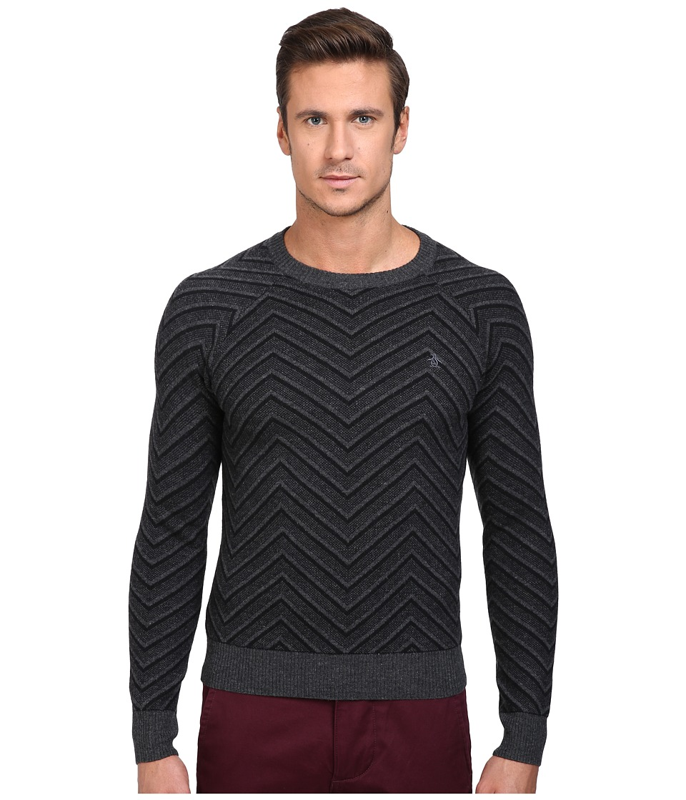 Original Penguin - Raglan Textured Exploded Herringbone Crew Neck Sweater (True Black) Men's Sweater