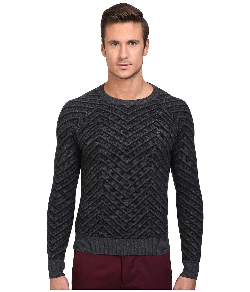 Original Penguin - Raglan Textured Exploded Herringbone Crew Neck Sweater (True Black) Men's Sweater