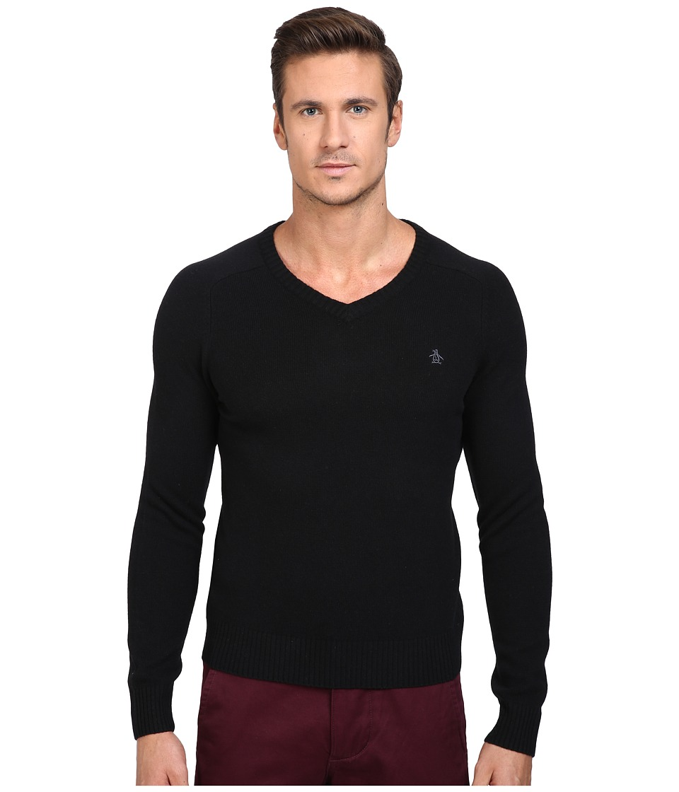Original Penguin - P55 100% Lambswool V-Neck Sweater (True Black) Men's Sweater
