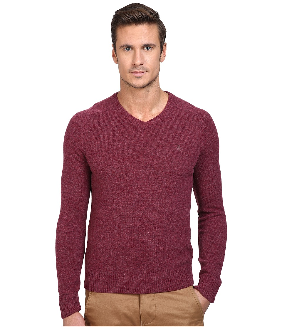 Original Penguin P55 100% Lambswool V-Neck Sweater (Amaranth) Men