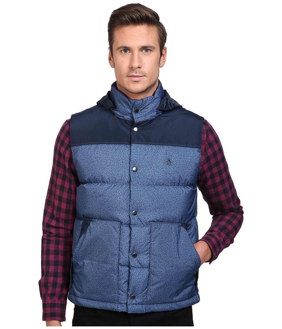 Original Penguin - Color Block Down Vest (Dark Sapphire) Men's Vest