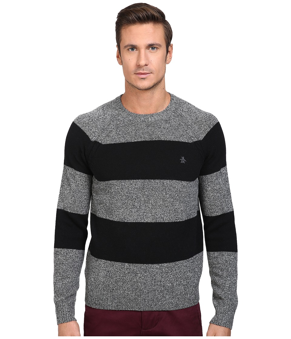 Original Penguin - Wide Stripe Crew Neck Sweater (Dark Shadow) Men's Sweater